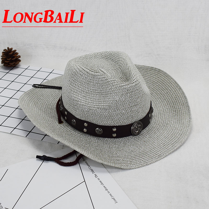 d03080c16 US $17.9 |Summer Straw Cowboy Hats For Men Large Brim Paper Braid Sun Beach  Hats Free Shipping SDDS098-in Cowboy Hats from Apparel Accessories on ...