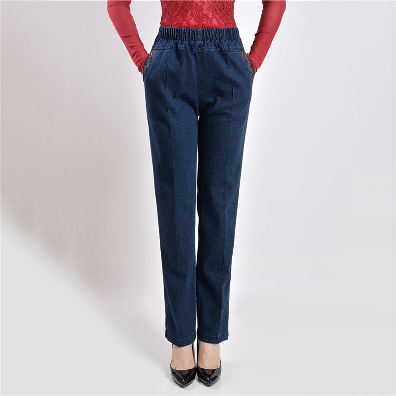 Mom   Jeans   Blue High Waist Loose XL-5XL Plus Size   Jeans   19 New Spring Embroidery Pockets Straight   Jeans   Mid-aged Women Pants JD46