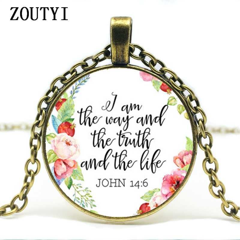 2018/Chúa Giêsu Thánh Giá Đồ Trang Sức TÔI là các cách của sự thật và cuộc sống John 14:6 Christian Quote Vòng Cổ Kinh Thánh Kinh Thánh Mặt Dây Chuyền vòng cổ Quà Tặng