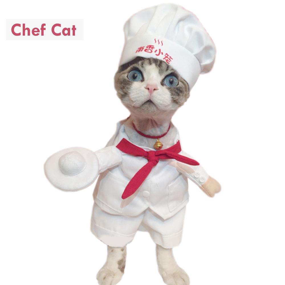Funny Pet Costumes Star Chef Cosplay Suit Chef Cat Apparel Halloween Christmas Outfit Cl ...