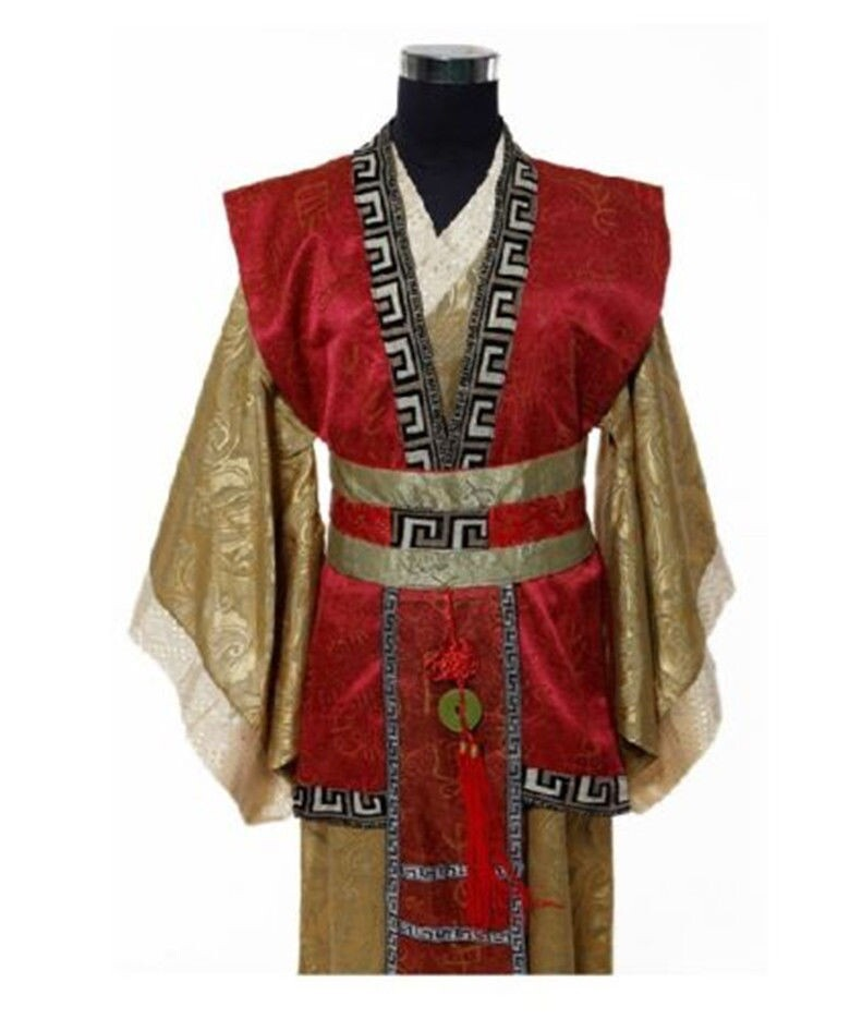 Red yellow Chinese Man Han Clothing Emperor Prince Show Cosplay Suit Robe Costume Minister traditional Ancient