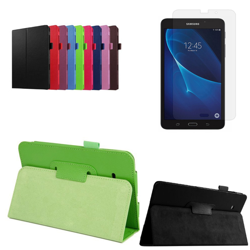 New Litchi Folio Stand PU Leather Cover Case For Samsung Galaxy Tab A 7.0 2016 T280 SM-T280 T280N T285 Tablet + Screen Protector luxury flip stand case for samsung galaxy tab 3 10 1 p5200 p5210 p5220 tablet 10 1 inch pu leather protective cover for tab3