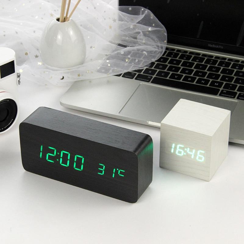 LED Wooden Alarm Clock Watch Table Voice Control Digital Wood Despertador font b Electronic b font