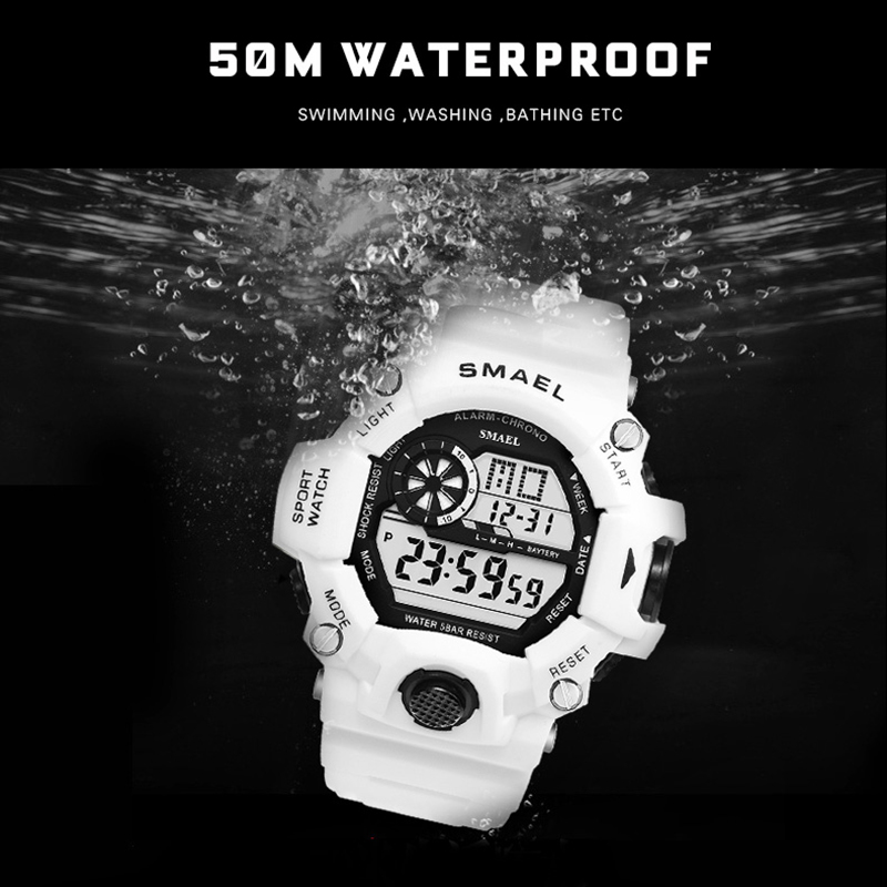 Image 2 - Sport Quartz Digital Watches Male Watch SMAEL Sport Watch Men Waterproof relogio masculino Clock White Digital Military Watches-in Sports Watches from Watches