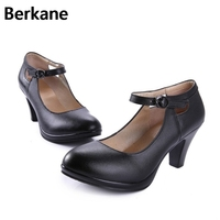 Black Genuine Leather Office Dress Shoes Women Buckle High Heels Fashion Wedges Casual Pumps Ladies Zapatos Mujer Free Shipping