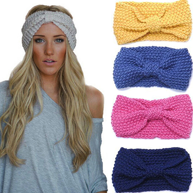 1pcs Women Lady Crochet Bow Knot Turban Knitted Head Wrap Hairband