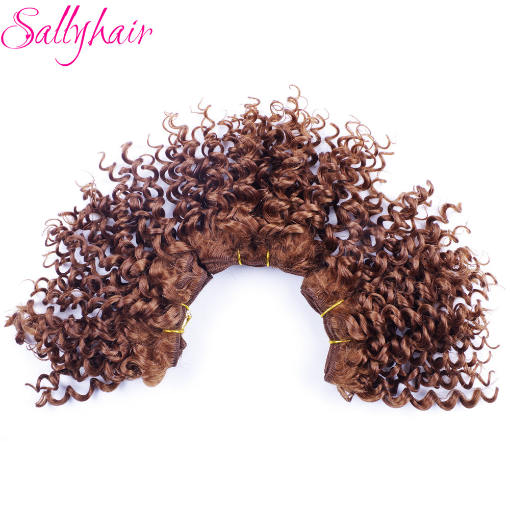 Sallyhair Afro Kinky Curly Crochet Hair Weave Brun Färg Hög Temperatur Syntetisk Weft Hårförlängningar 3pc / lot Hair Weavings