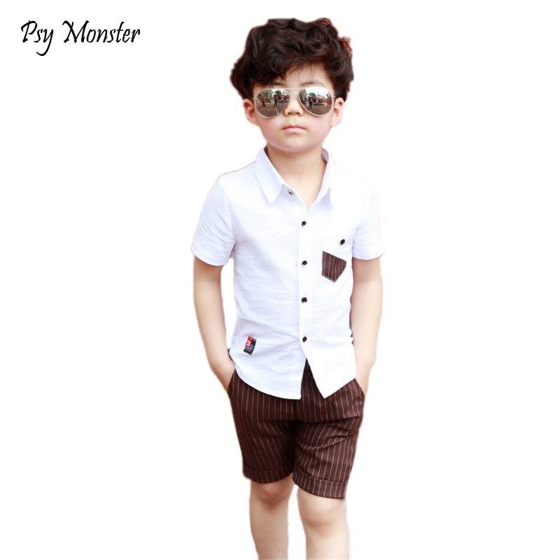 f23a1a562be School Boy Summer Clothing Set 2018 Boys Clothes Kids Short Sleeves Shirt+ Stripe  Shorts 2pcs Suit Children Clothing F106 - Best Kids Clothing Stores Online