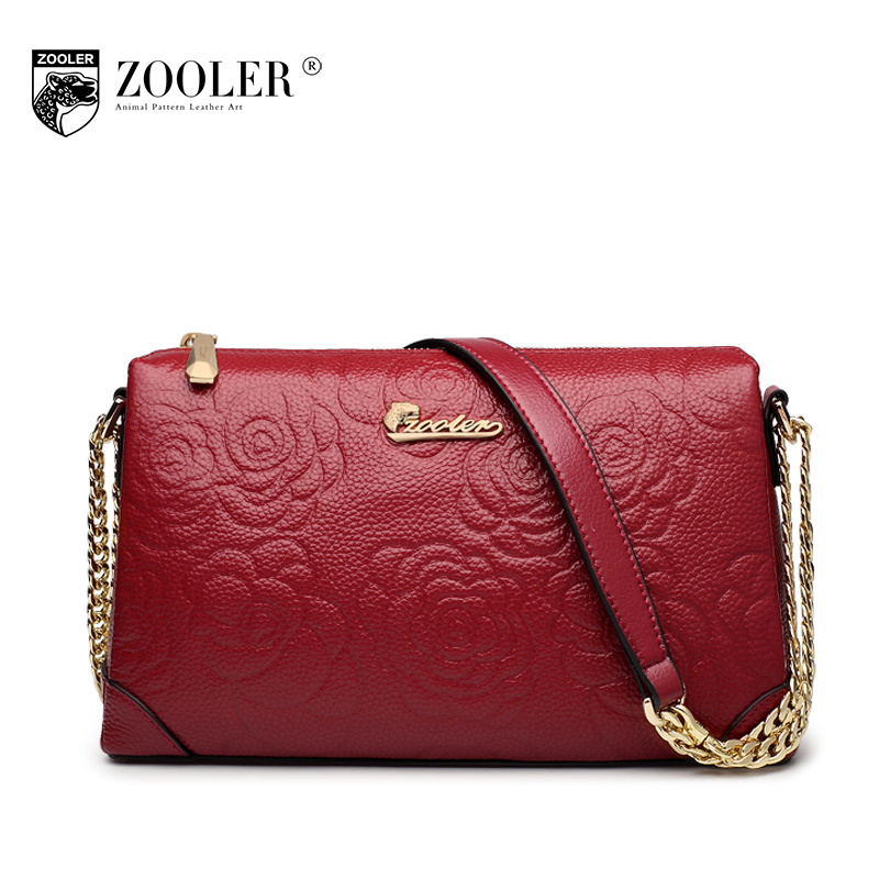 ZOOLER Women Small Embossed Shoulder Bag Female 2018 Spring Genuine Leather Messenger Bags Fashion Chains Evening Clutches Bag women genuine leather character embossed day clutches wristlet long wallets chains hand bag female shoulder clutch crossbody bag