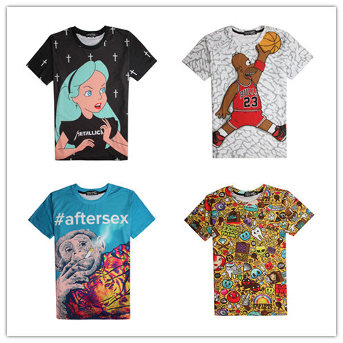 f0a4e6b2f2 2015 summer arrival 3d t shirt cartoon alice/ bart simpson fake 23 jordan  /find somthing game printed graphic women/mens tops-in T-Shirts from  Women's ...