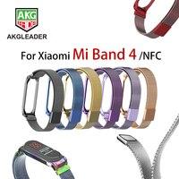 AKGLEADER для Xiaomi mi band 4 mi lanese петля ремешок браслет из нержавеющей стали для Xiaomi mi Band 4 новейший mi band 4 ремешки