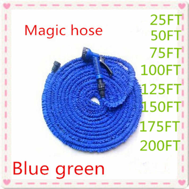 Free shipping Magic flexible Expandable Garden Hose reels Blue & Green 25FT-200FT+spray Gun Garden Water connector (EU/US)
