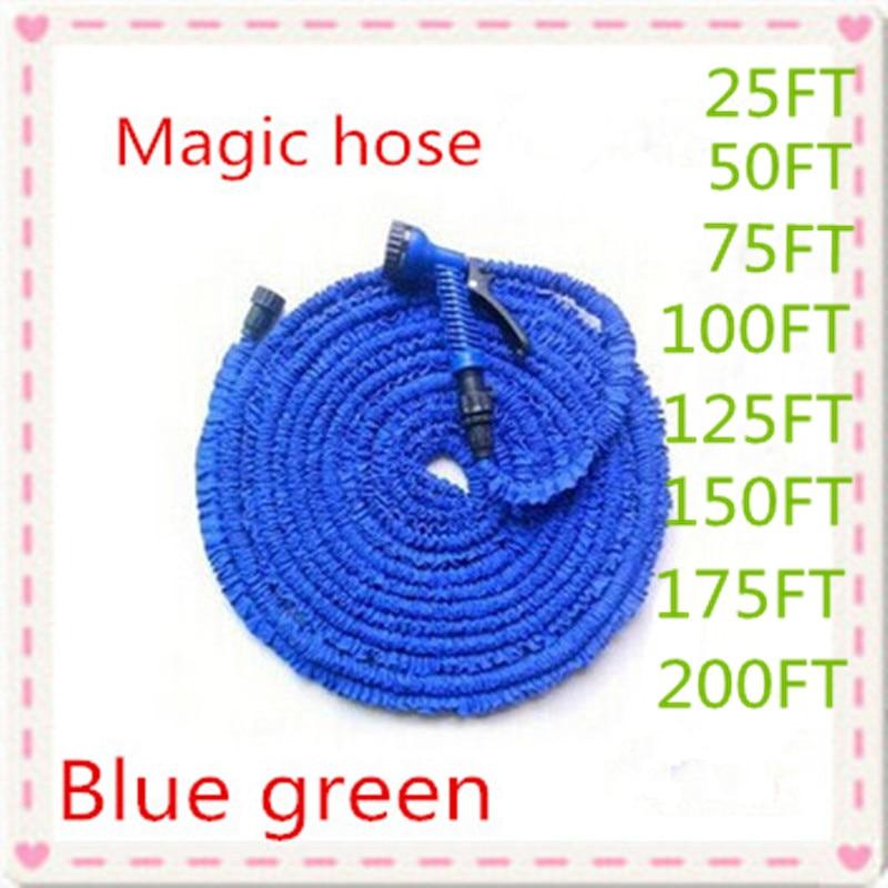 Free shipping Magic flexible Expandable Garden Hose reels Blue & Green 25FT-200FT+spray Gun Garden Water connector (EU/US)