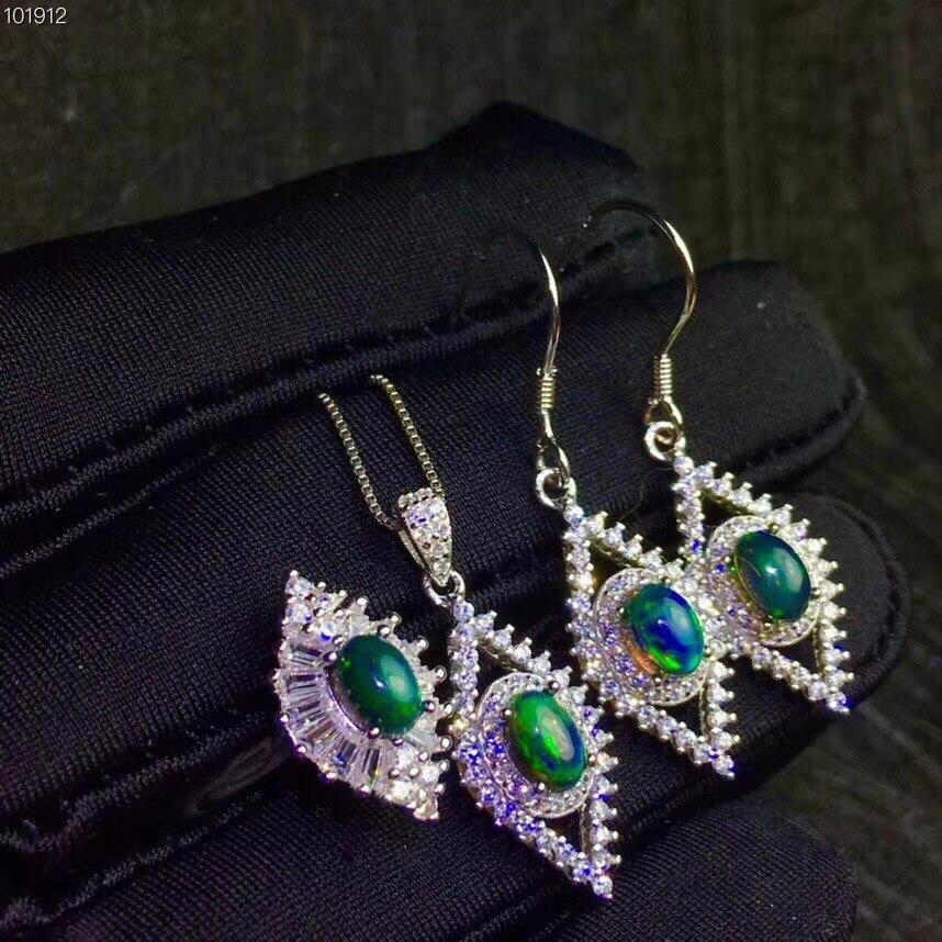 Натуральный черный опал костюм, кольцо цепочки и ожерелья серьги гвоздики, красивый огонь, замечательный Starlight узоры, серебро 925