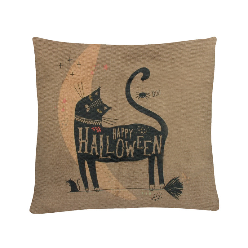 Cushion Cover Halloween Cat Cotton Linen Animal Pillow Square Cover Home Decorative For Sofa Car Seat Throw Pillows 45*45cm