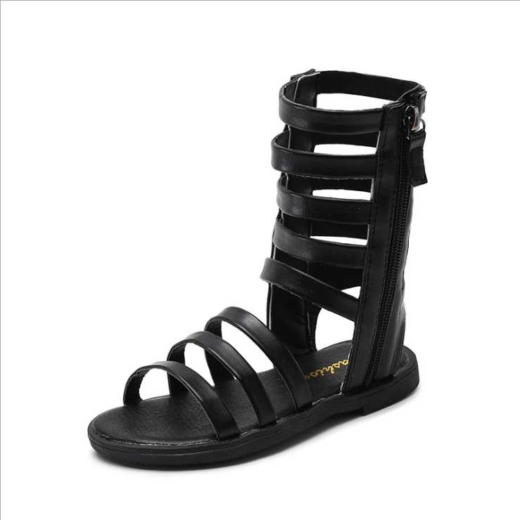 2019 yaz yeni açık ayak kızın serin botları çocuk moda Roma tarzı çocuk sandalet bebek orta tüp sandalet