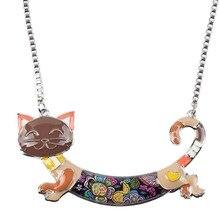 Enamel Cat Necklace Long Cat For Women
