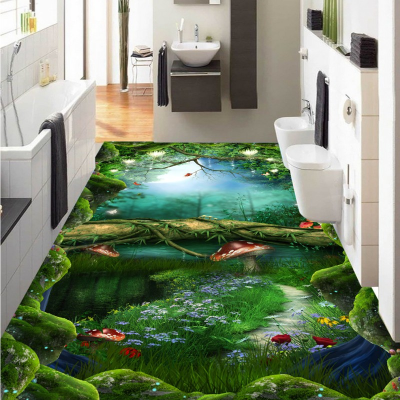 Free Shipping Dream Forest Path Bathroom Kitchen 3D Floor self-adhesive home decoration anti-skidding flooring wallpaper mural free shipping marble texture parquet flooring 3d floor home decoration self adhesive mural baby room bedroom wallpaper mural