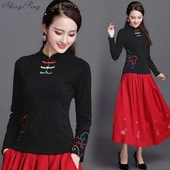 a97abb51 Cheongsam top tradicional chino ropa mujeres tops mujeres manga larga tops  Q613
