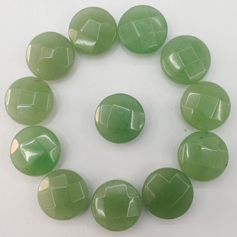 Wholesale fashion natural Aventurine stone 16MM round cut section bead for jewelry making necklace 24Pcs/lot cab cabochon Ring