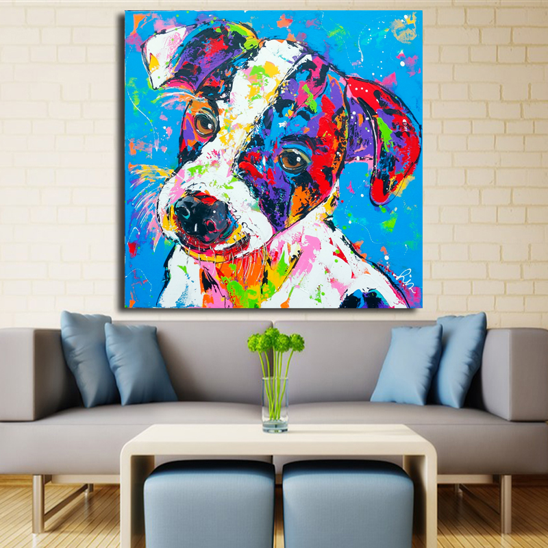home goods wall art lovely dog canvas printed oil painting on canvas ...
