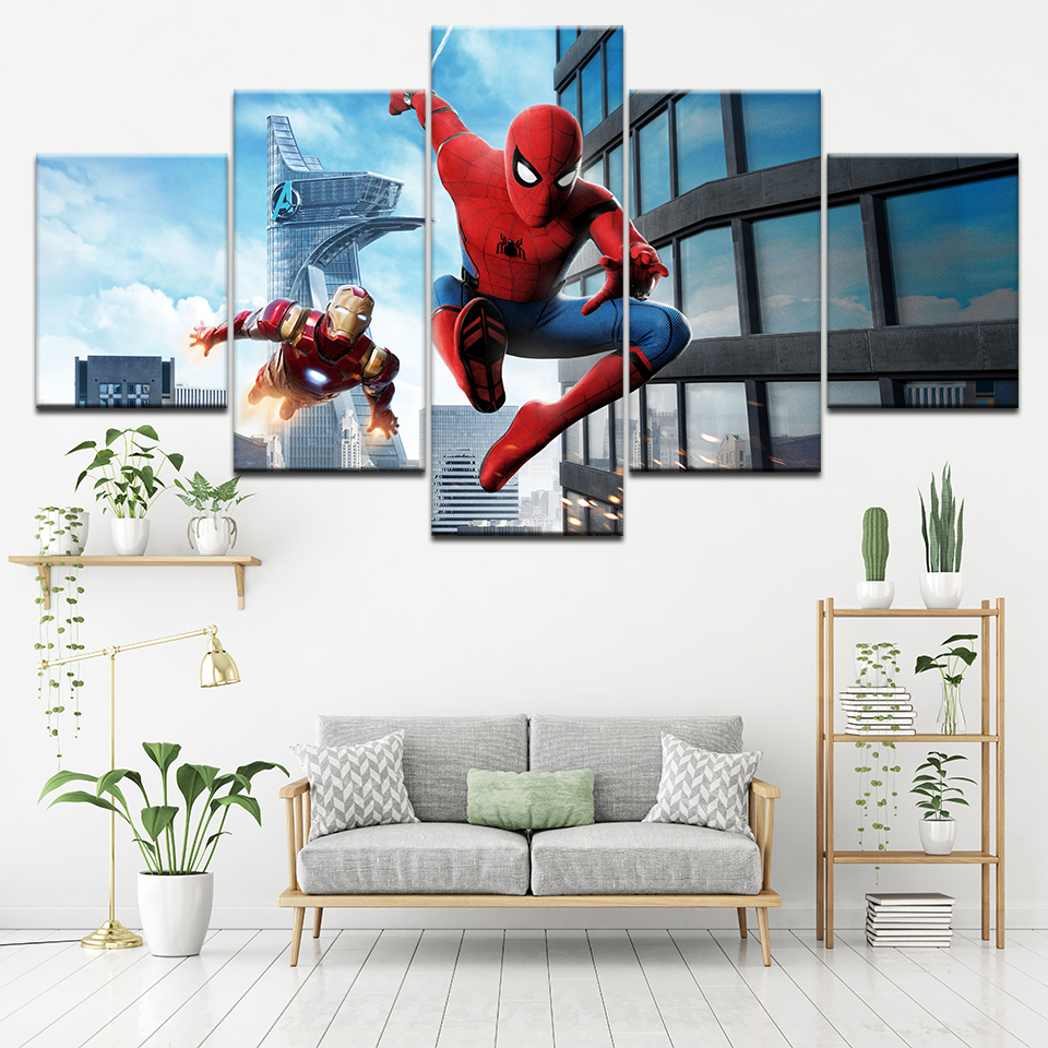 HD Print Mural Poster 5 Pieces Canvas Spiderman iron Man Movie Painting Picture wall Art Children's room Living Room Home Decor image