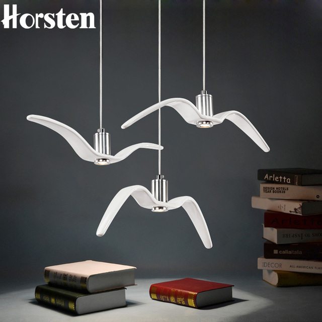 Horsten Nordic Modern Creative Sea Gull Pendant Lights Personality Seagull Lamp For Bedroom Dining Room