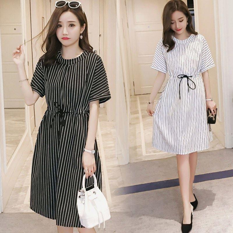 995# Vertical Striped Maternity Nursing Dress Summer Fashion Slim Waist Clothes For Pregnant Women Pregnancy Feeding Clothing