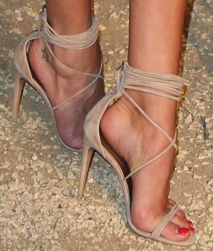 Celebrity red carpet same model beige suede leather strappy ...