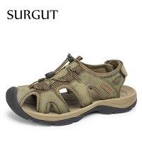 SURGUT 2018 Fashion Quality Genuine Leather Men Sandals Mesh Soft Fisherman Summer Casual Shoes Men Beach Sandalias Men Shoes