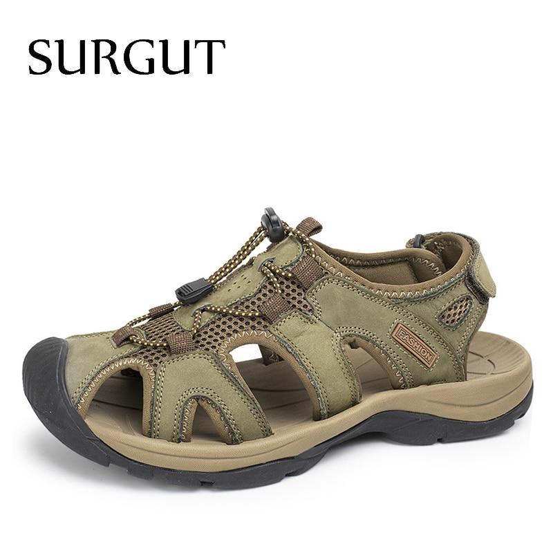 SURGUT 2019 Fashion Quality Genuine Leather Men Sandals Mesh Soft Fisherman Summer Casual Shoes Men Beach Sandalias Men Shoes