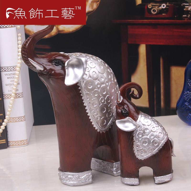 Fashion resin mother-child like decoration antique silver bronze color at home decoration elephant decoration