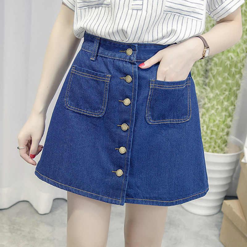 על מכירה 2018 קיץ נשים גבירותיי אונליין חצאית עיפרון ג 'ינס גבוה מותניים ג' ינס harajuku כיסי חצאית שחור לבן באיכות גבוהה