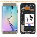 Ouro para samsung galaxy s6 edge sm-g925f lcd screen display toque digitador assembléia + moldura do quadro + ferramentas peças frete grátis