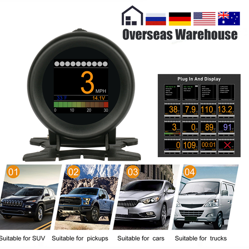 AUTOOL X60 OBD2 Display Speedmeter Tachometer Battery Voltage Water Oil Pressure Temperature Gauge Mileage Auto Scanner HUD
