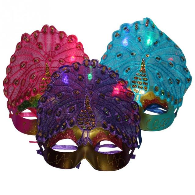 Party Masks Halloween Mask Light Up Led Party Masks Peacock Venetian Ball Funny Masks Festival Cosplay Costume Supplies Products Hot Sale