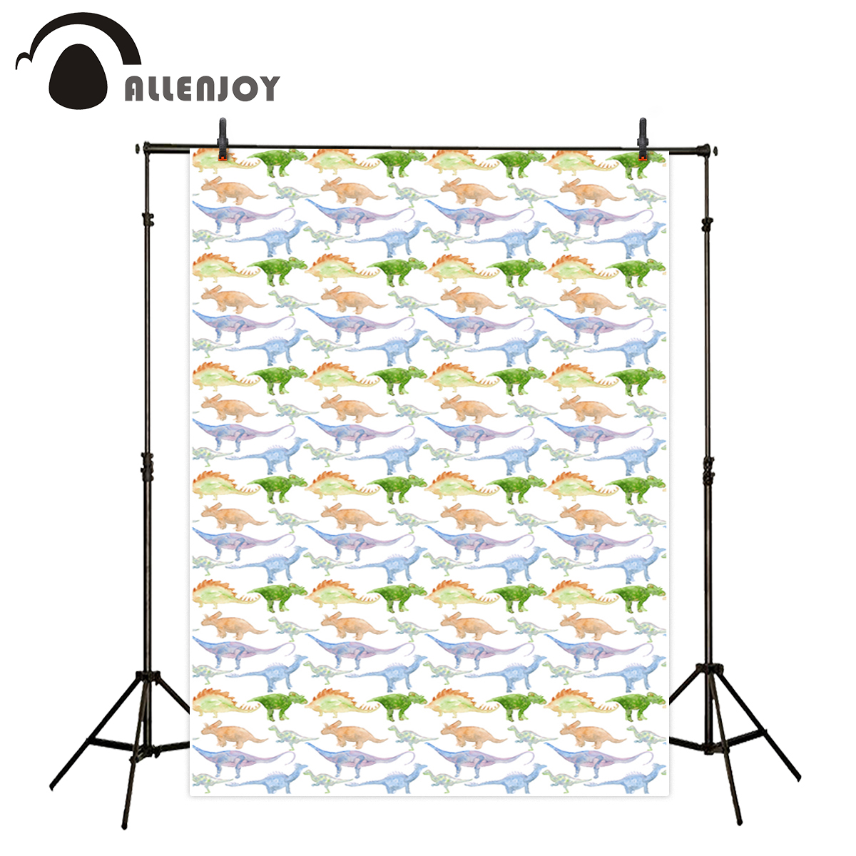 Allenjoy photography backdrop kid watercolor dinosaur theme party birthday cartoon background photo studio photobooth photocall