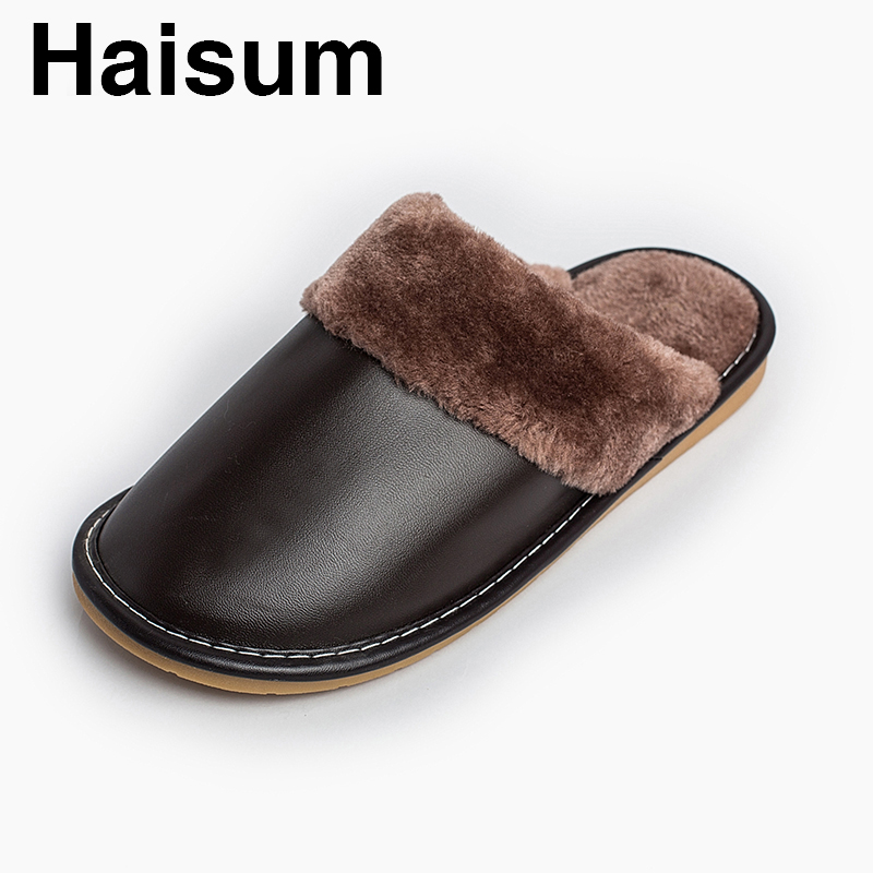 Men 's Slippers Winter Pu Leather Home Indoor Non - Slip Thermal Slippers 2018 New Hot Haisum H-8813 plush home slippers women winter indoor shoes couple slippers men waterproof home interior non slip warmth month pu leather
