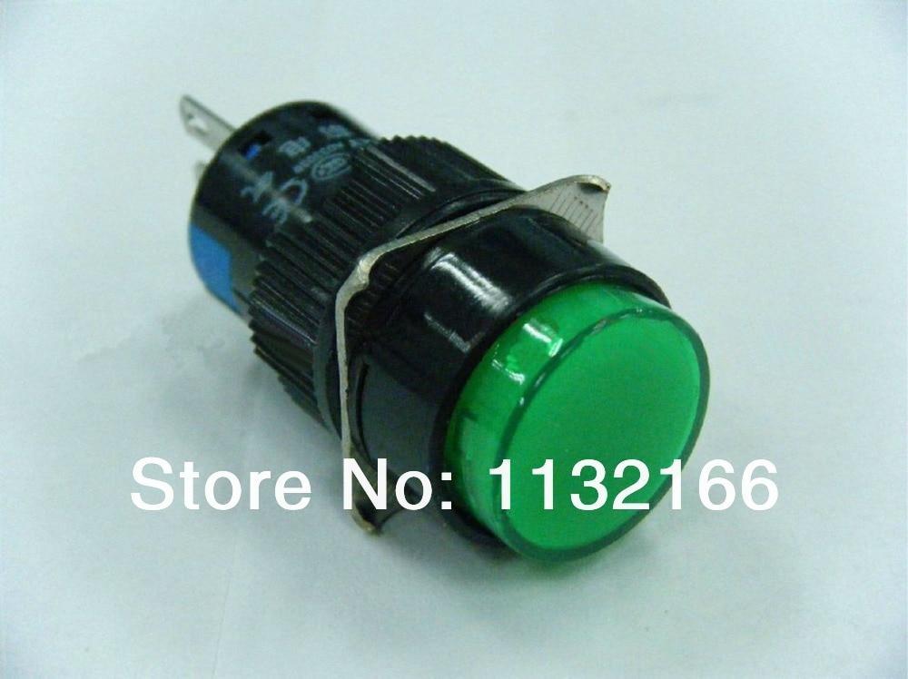 10pcs 220VAC Pilot Light Lamp 16mm Hole Color Green 1NO 1NC Contact 5 Pin SPST Momentary Push Button Switch