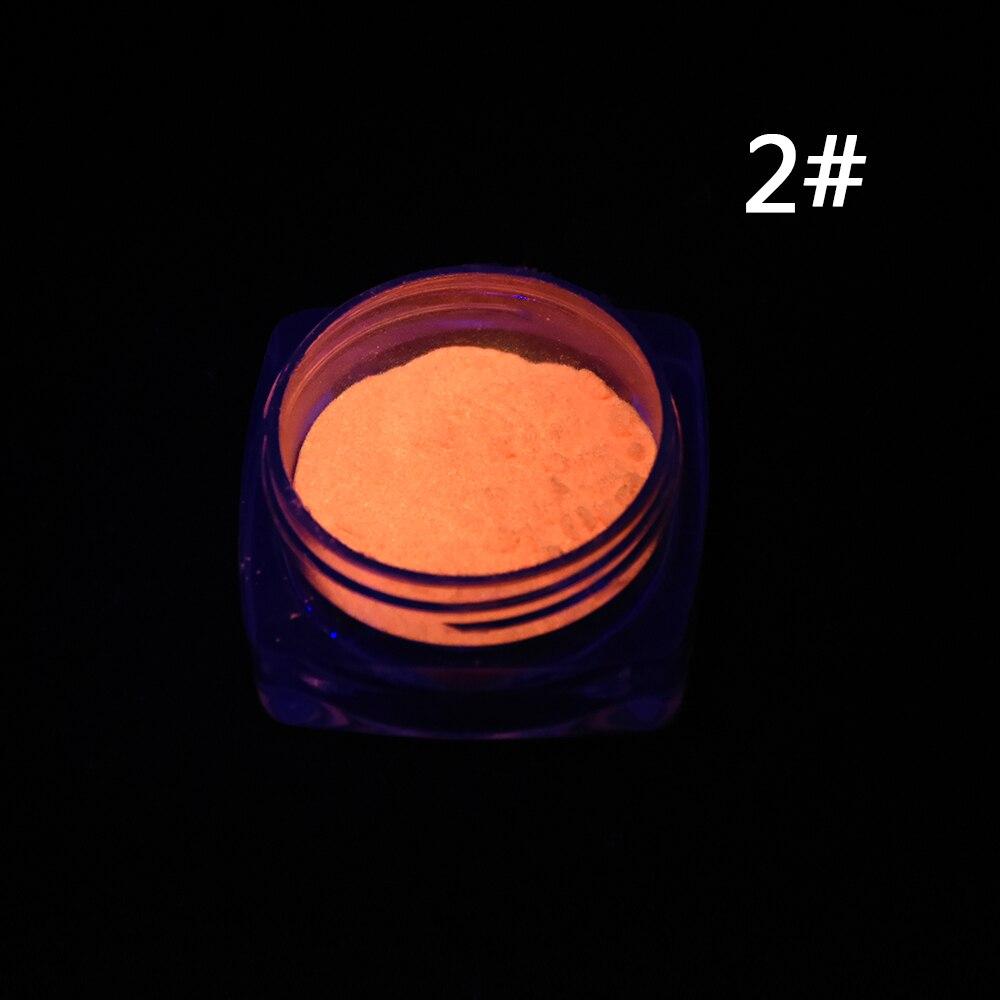 1 Neon Caixa De Fósforo Em Pó Prego Pó Glitter 10 Cores pó de Pigmento Luminoso Fluorescente Em Pó Prego Glitters Glow In The escuro 2
