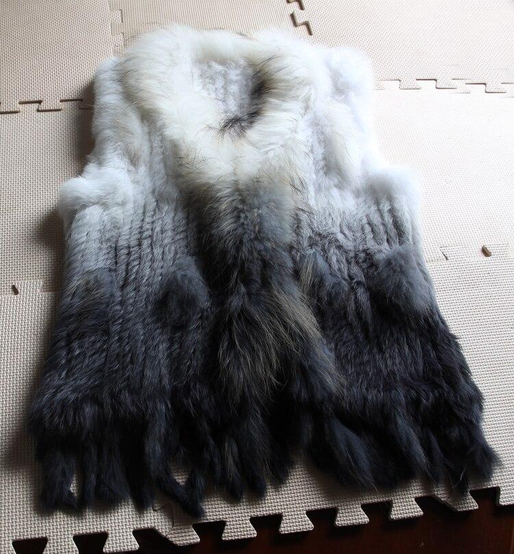 Классические женские новые модные с натуральным кроличьим мехом вязать енот меховой воротник жилет YH33