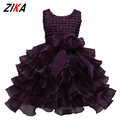 Girls Party Wear Clothing For Children Summer Sleeveless Floral Princess Wedding Dresses Girls Party Prom Dress Ball Gown 3-8Y
