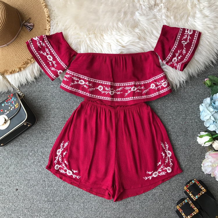 NiceMix Ruffles 2019 Off Shoulder Embroidery Jumpsuit Casual Sexy Women Bohemian Short Summer Playsuit Ethnic Beach Holiday Romp 1