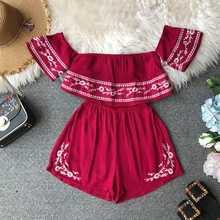 NiceMix Ruffles 2019 Off Shoulder Embroidery Jumpsuit Casual Sexy Women Bohemian Short Summer Playsuit Ethnic Beach Holiday Romp