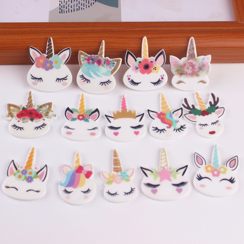 10pcs/lot planar resin cute unicorn head kawaii resin cabochons accessories new arrival (China)