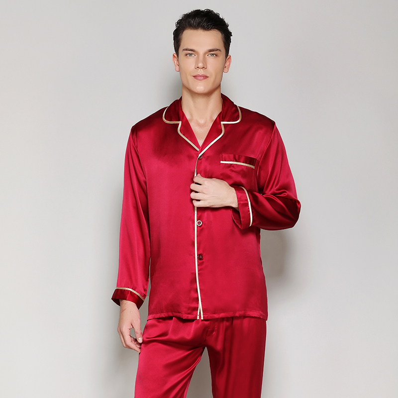 Men's Silk Pajama Sets2019solid Color Brand New Fashion Red Blue 100% Silk Stain Sleepwears Male Sleep&lounge Pajamas Plus Size