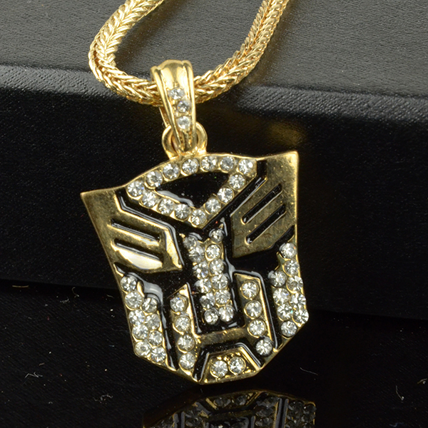 "Autobots Face Pendants with 24"" Franco Gold Chains Hip hop style Full Crystal Free shipping"