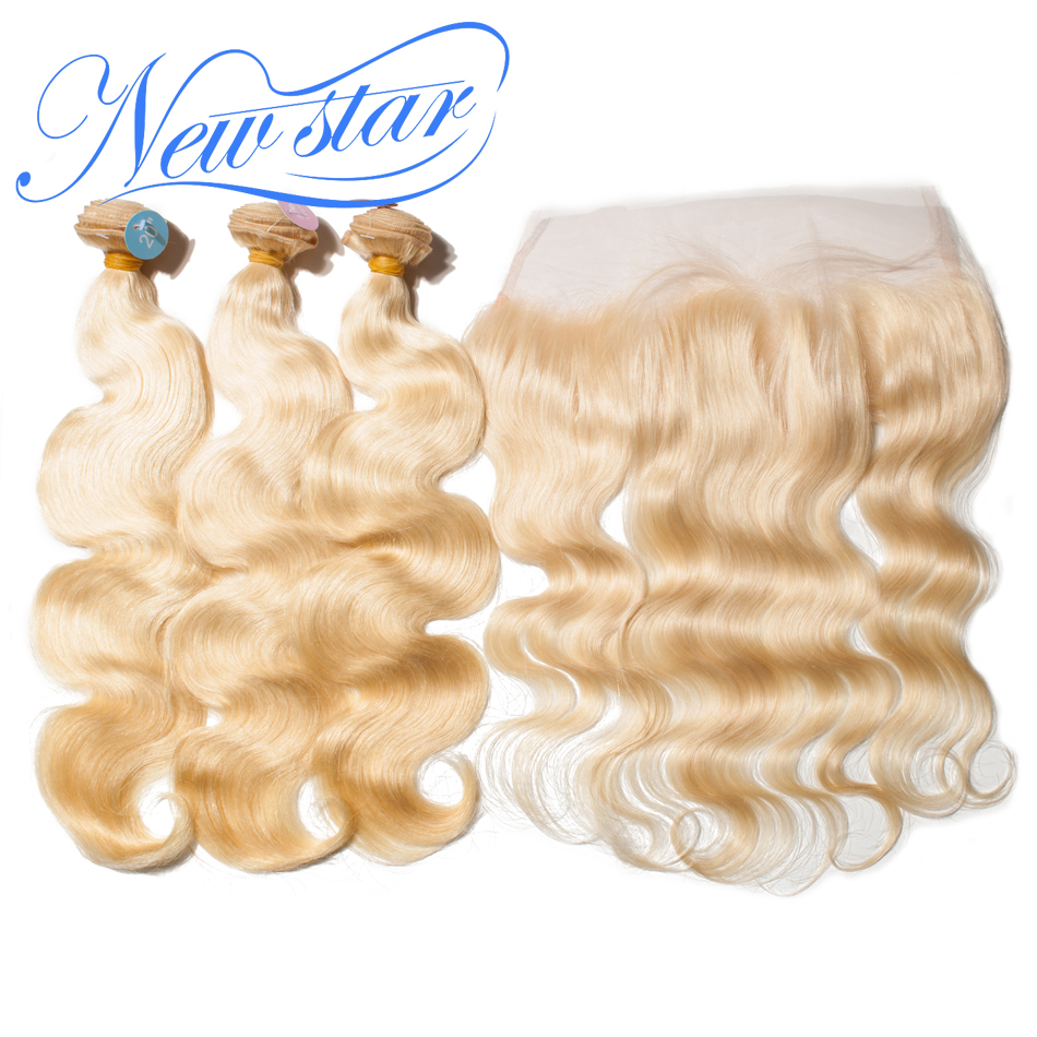 New Star Hair 613 Body Wave Bundles With Frontal Brazilian 3 Pcs Blonde Remy Human Hair