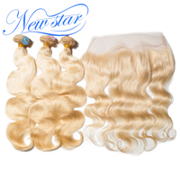 New Star Hair 613 Body Wave Bundles With Frontal Brazilian 3 Pcs Blonde Remy Human Hair Weave Extension And 13x4 Closure