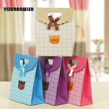 12pcs/lot Pink Purple Paper Gift Bag For Wedding Decoration Romantic Wedding Favors And Candy Box With Handles Fashionable Chic